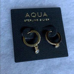 Bloomingdales aqua tiny hoop earrings
